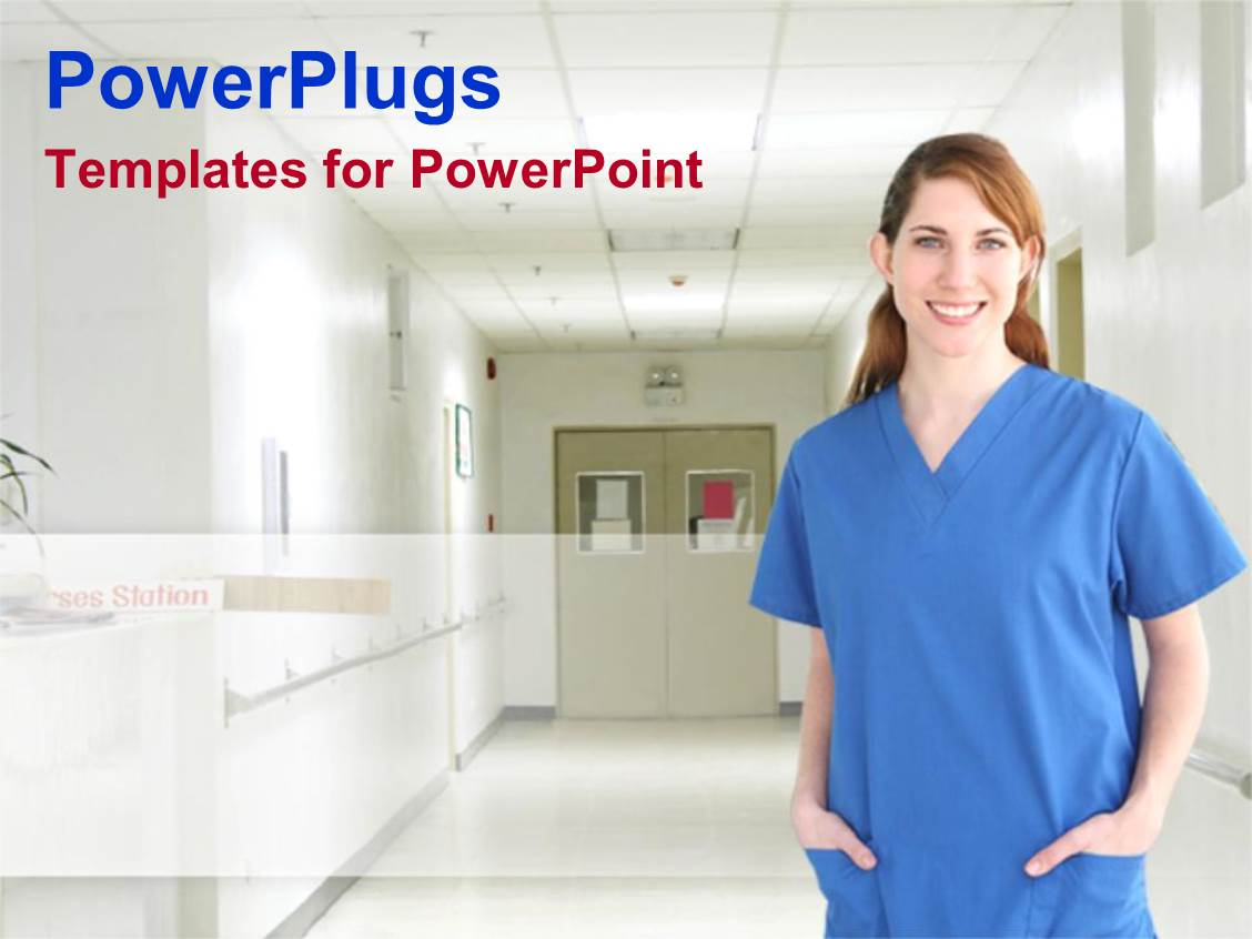 PowerPoint Template Female nurse in blue scrubs standing on a hospital hallway smiling