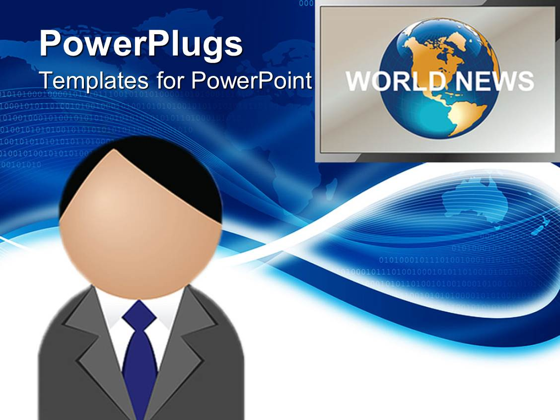 powerpoint template: figure head presenting world news with screen, Modern powerpoint