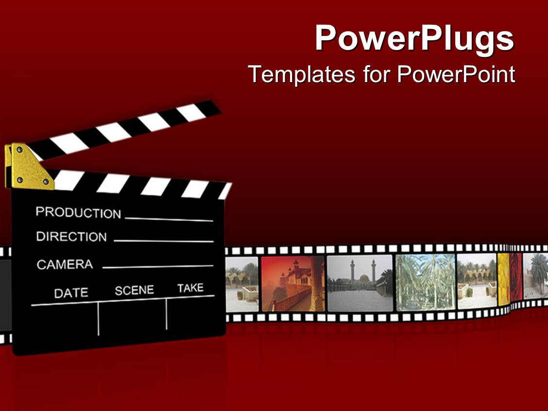 Powerpoint template film projector clapboard with vintage for Diwan movie templates
