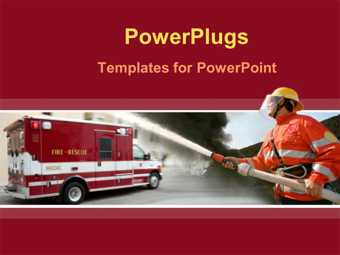 powerpoint template a fire fighter holding a water hose in front of a fire rescue vehicle 12291. Black Bedroom Furniture Sets. Home Design Ideas