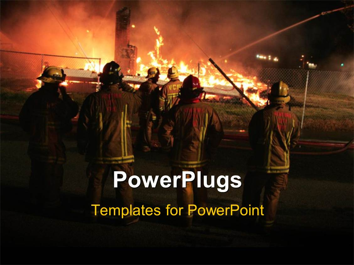 powerpoint template fireman working with fire 12297. Black Bedroom Furniture Sets. Home Design Ideas