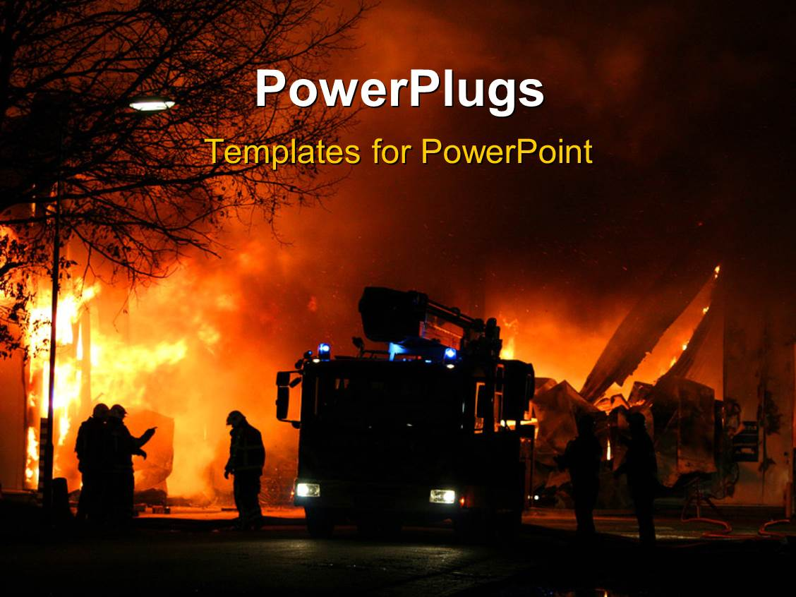 powerpoint template firemen at work during a major fire 12298. Black Bedroom Furniture Sets. Home Design Ideas