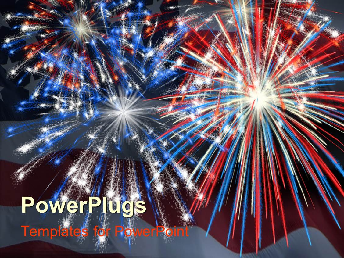 Fireworks powerpoint templates crystalgraphics ppt layouts with a firework display being impressed by the american flag along with the flag template size toneelgroepblik Choice Image