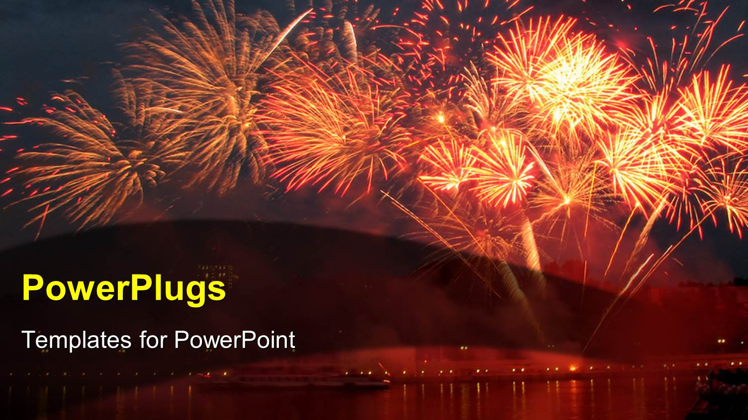 powerpoint template: lots of sparkling bright fireworks on an, Presentation templates