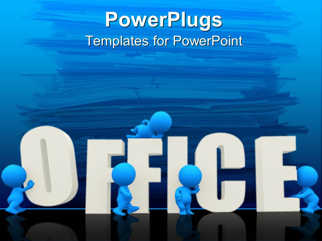 PowerPoint Template: a number of people working in an office with ...