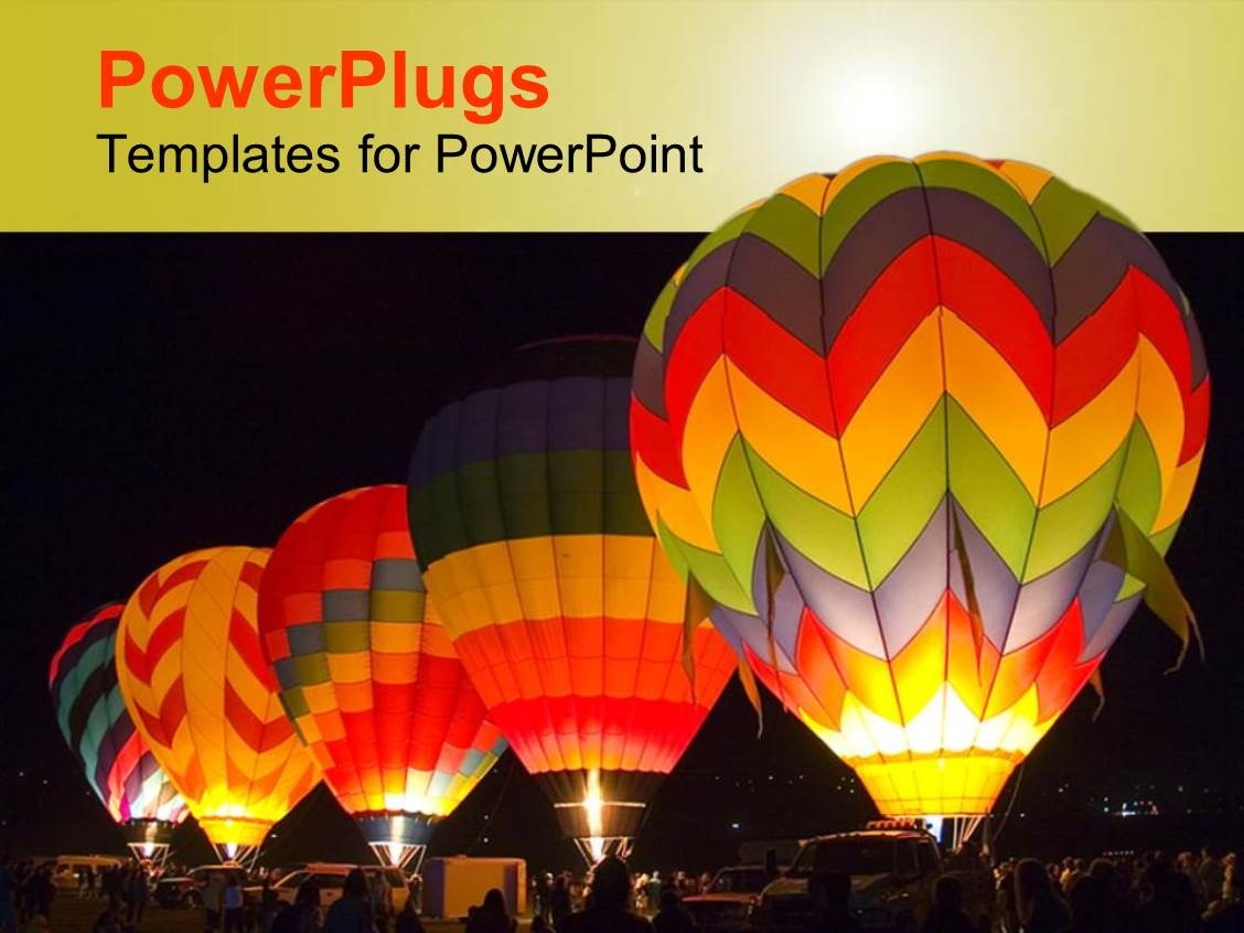 PowerPoint Template: Five colorful hot air balloons at ...