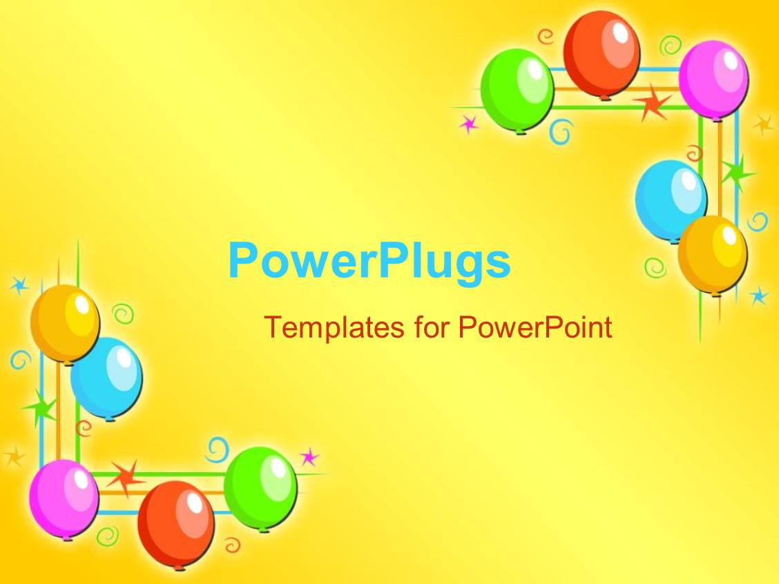 powerpoint template five multi colored balloons on each side of a yellow background 2818. Black Bedroom Furniture Sets. Home Design Ideas