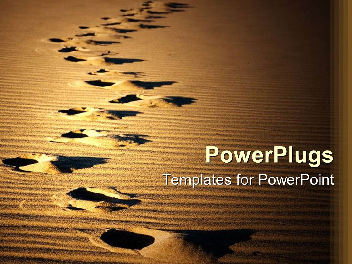 powerpoint template footprints on desert sand showing