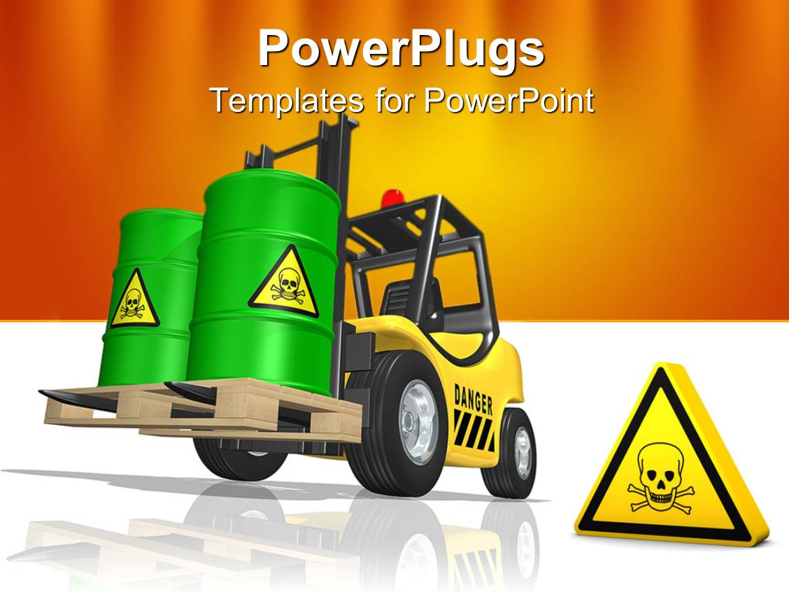 Toxic powerpoint templates crystalgraphics colorful slides having forklift transporting toxic waste large green barrels with toxic waste sign template size toneelgroepblik Image collections