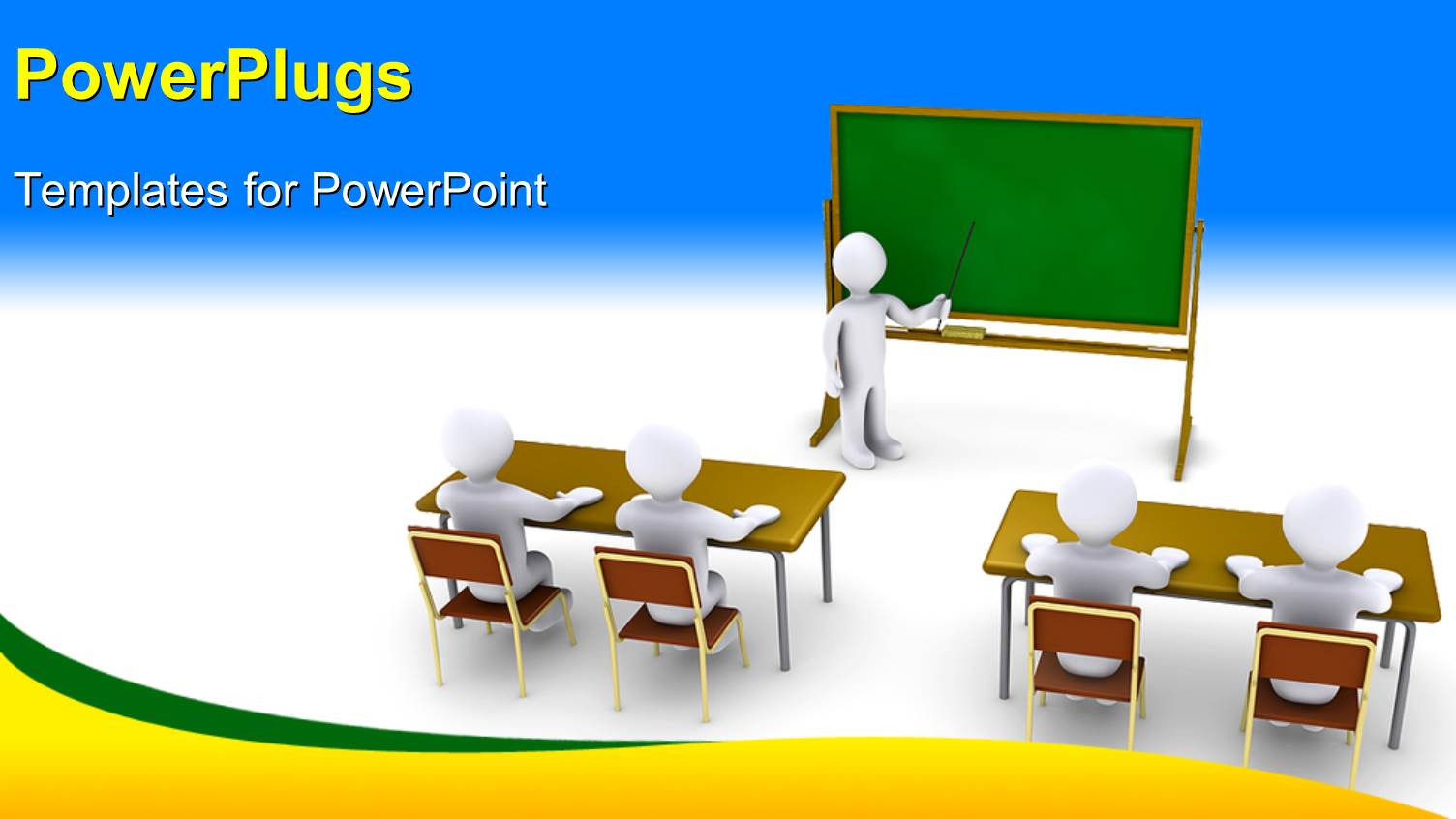 Powerpoint template 3d characters of a teacher teaching for Orientation powerpoint presentation template