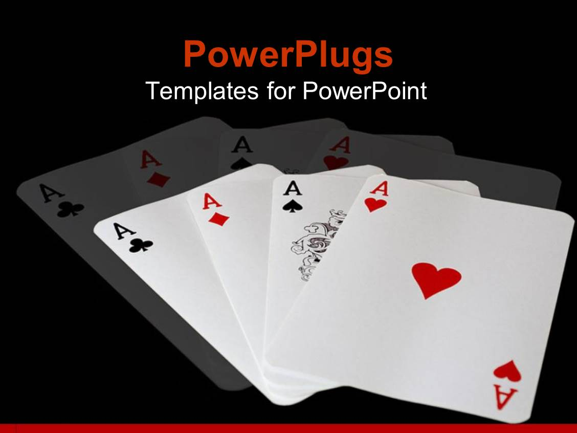 powerpoint template all four complete aces of a deck of cards 31391. Black Bedroom Furniture Sets. Home Design Ideas