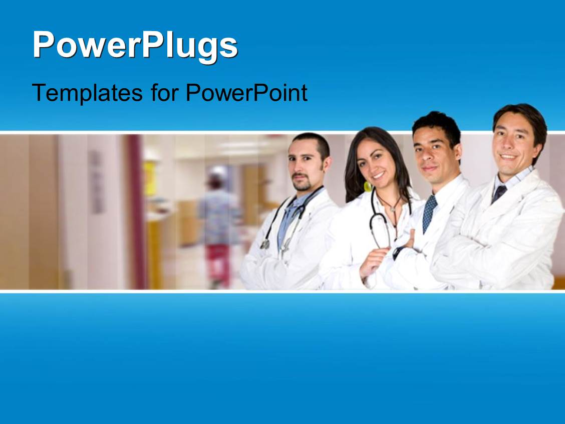 powerpoint template four doctors standing in line and smiling in a hospital background 9735. Black Bedroom Furniture Sets. Home Design Ideas