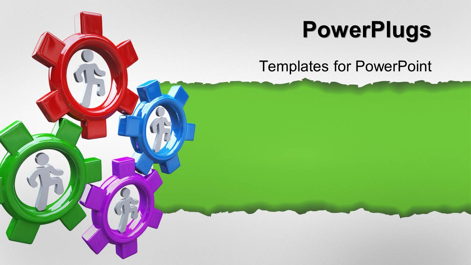 powerpoint template four people run in colorful gear