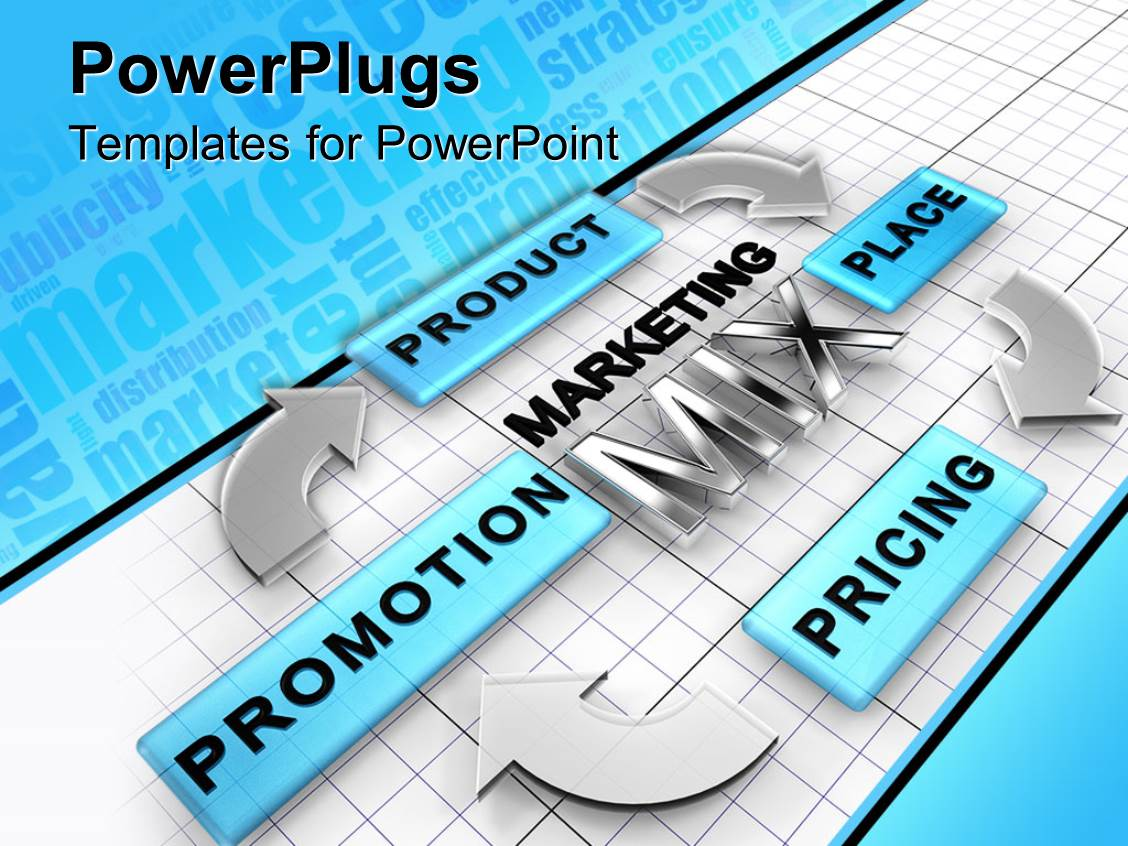 PowerPoint Template Displaying Four Ps' Cycle of Marketing Element Mix on a Board