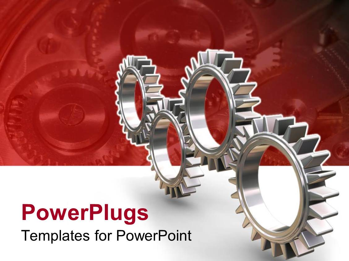 powerpoint template: four silver colored interlocking gears on red, Modern powerpoint