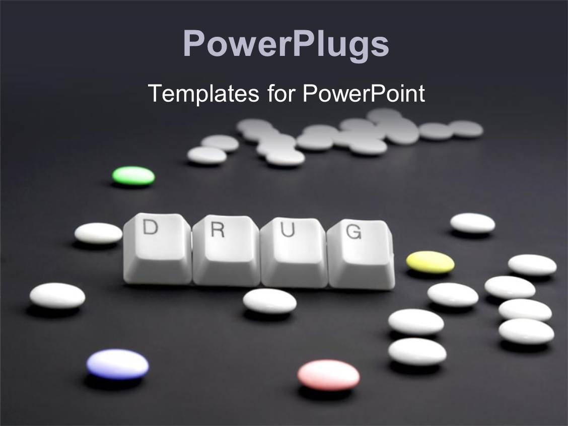 powerpoint template four tabs that spell out the word drugs with pills 10161. Black Bedroom Furniture Sets. Home Design Ideas