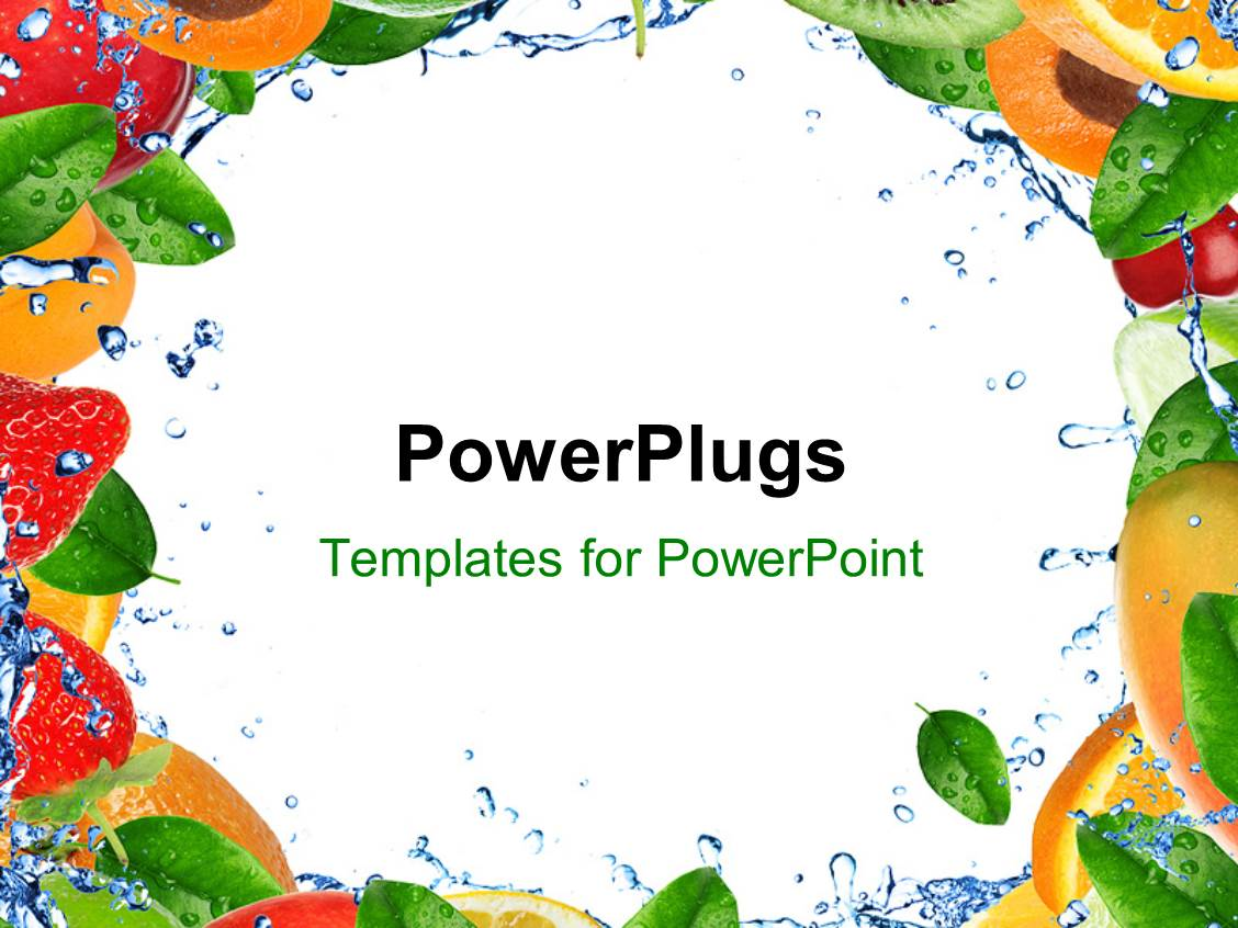 powerpoint template: collection of fresh and healthy fruits over, Presentation templates