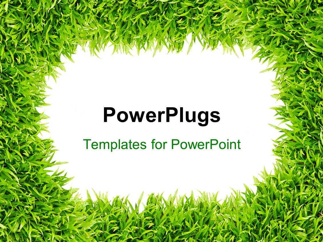 powerpoint template: frame surrounded with green grass depicting, Modern powerpoint