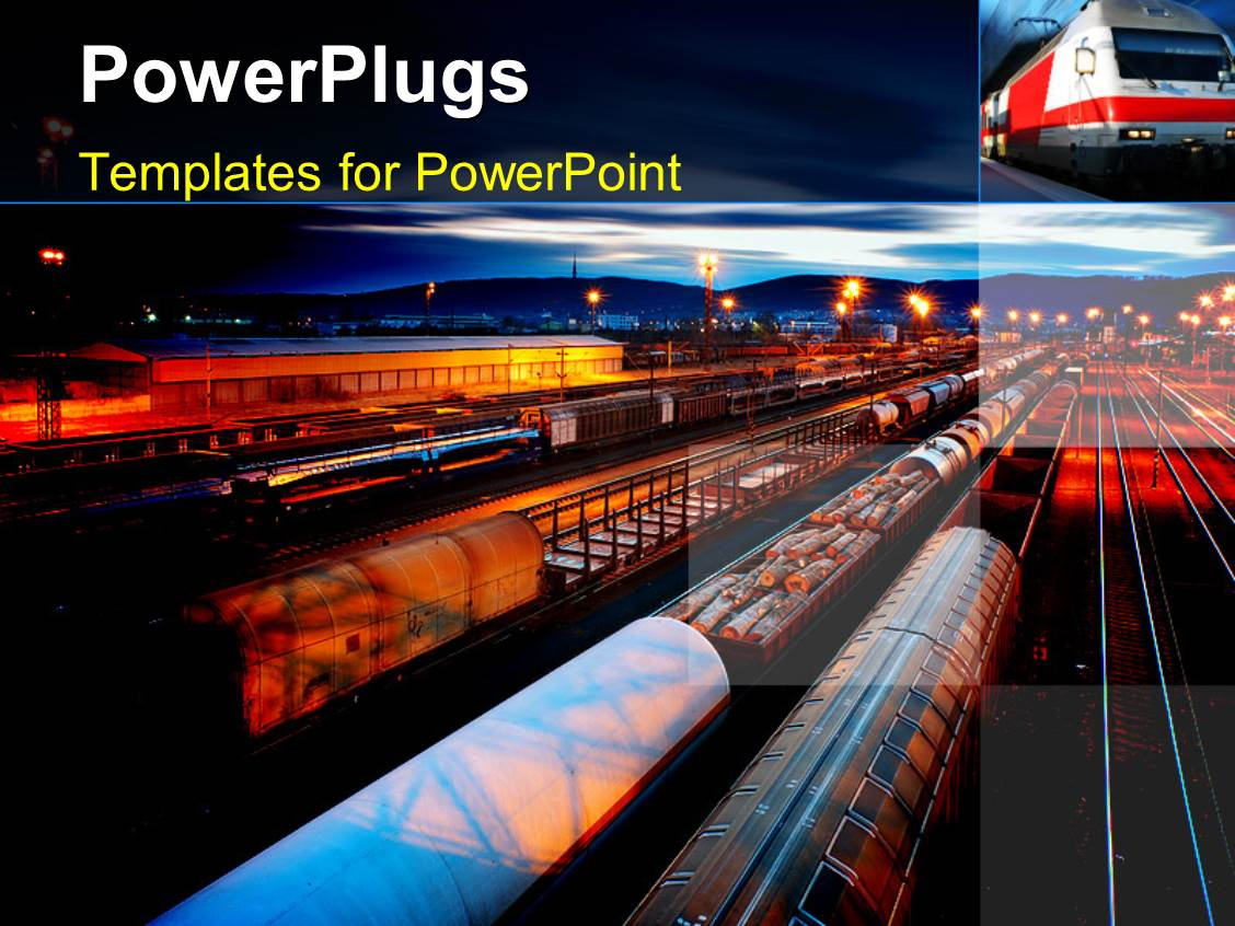 Powerpoint template freight station with the trains with the powerpoint template displaying freight station with the trains with the night lamps toneelgroepblik Images