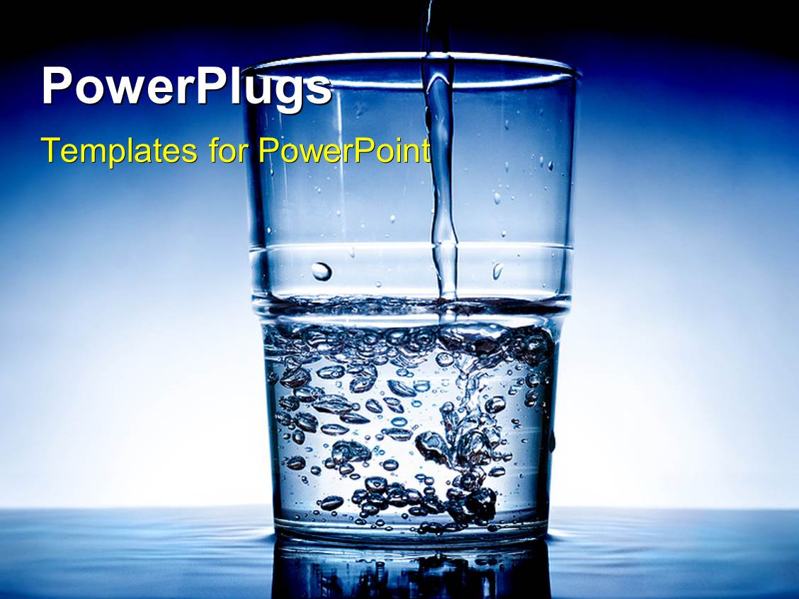 Powerpoint template fresh water being poured in a glass with blue powerpoint template displaying fresh water being poured in a glass with blue color toneelgroepblik Choice Image