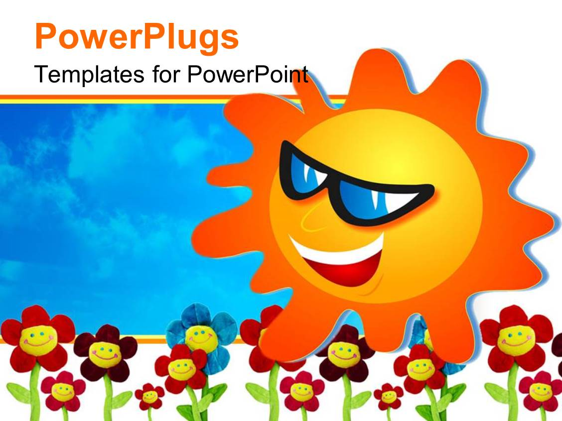 powerpoint template: fun depiction of happy smiling sun with face, Modern powerpoint