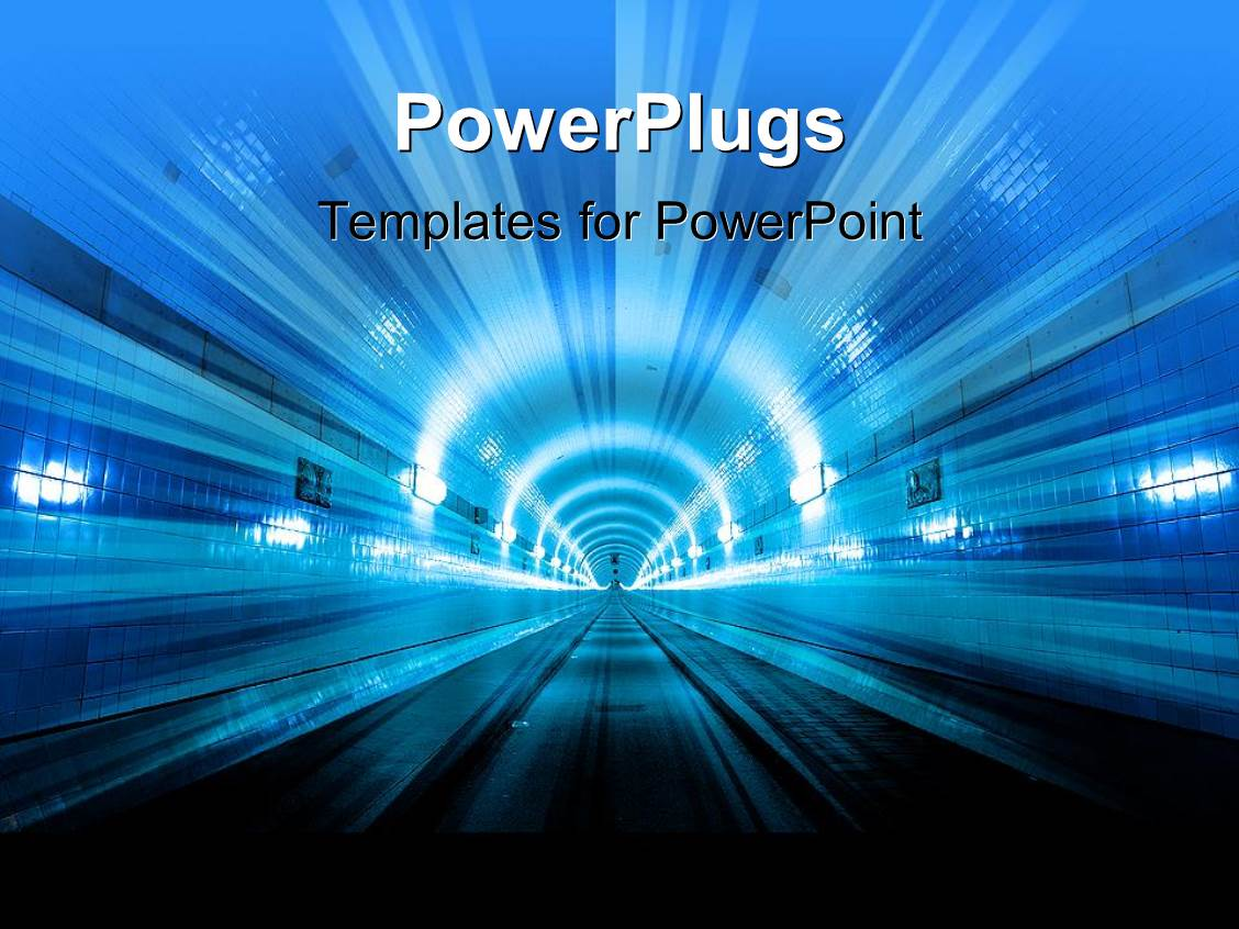powerpoint template: futuristic depiction of city tunne with, Presentation templates