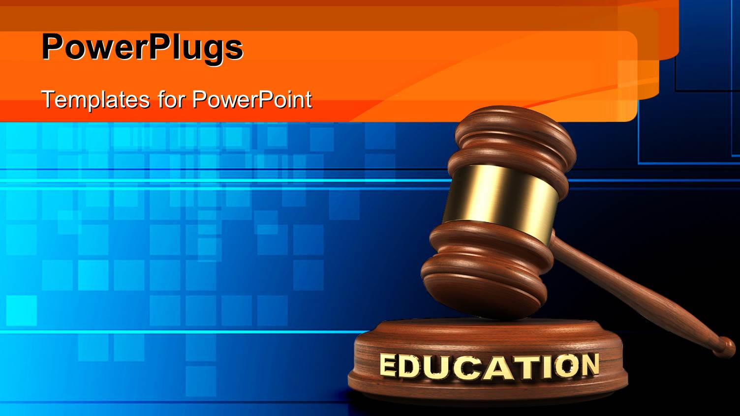Powerpoint template hammer and education gavel on blue for Power plugs powerpoint templates