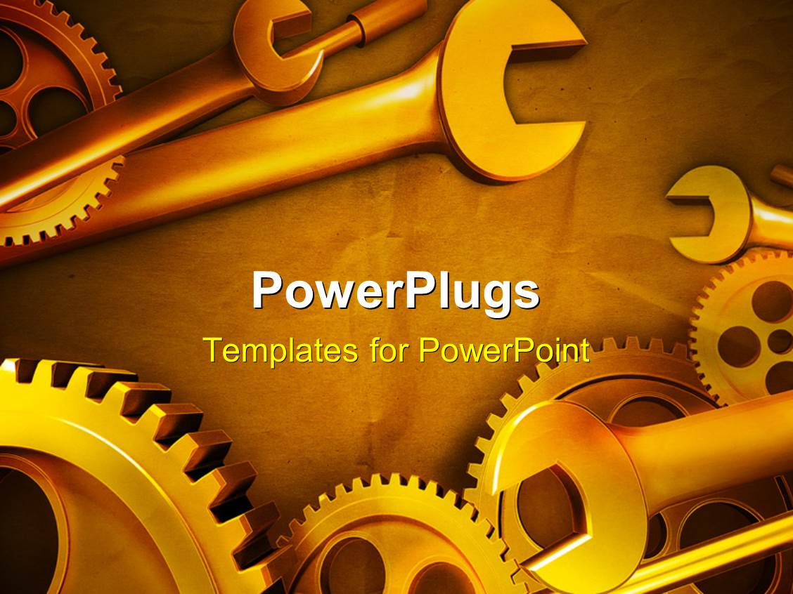 powerpoint template: gears and wrenches over yellow background (13362), Modern powerpoint