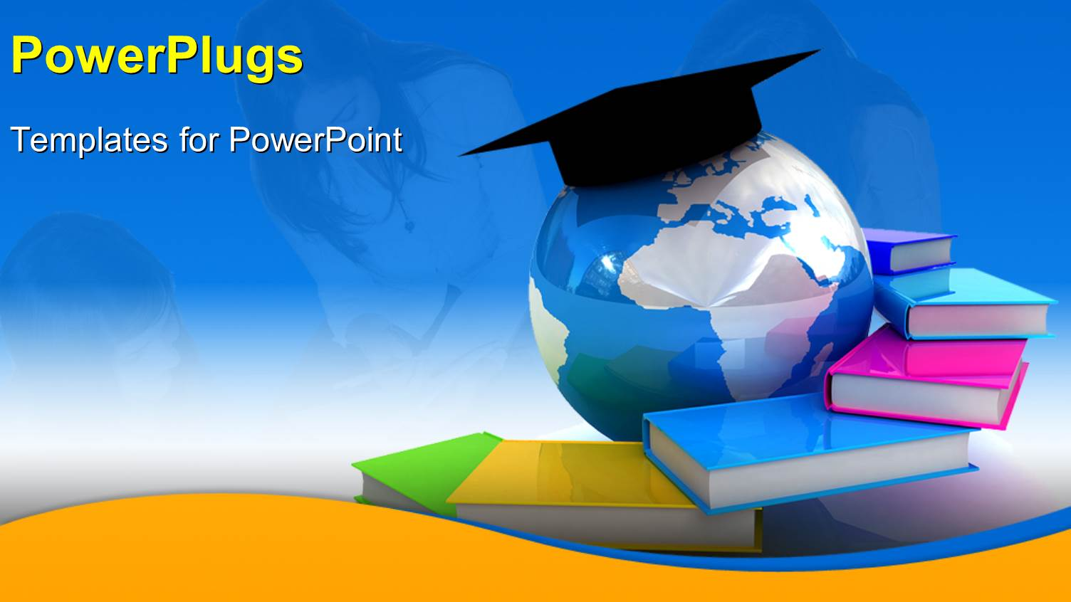 PowerPoint Template: Globe, Books With Students In