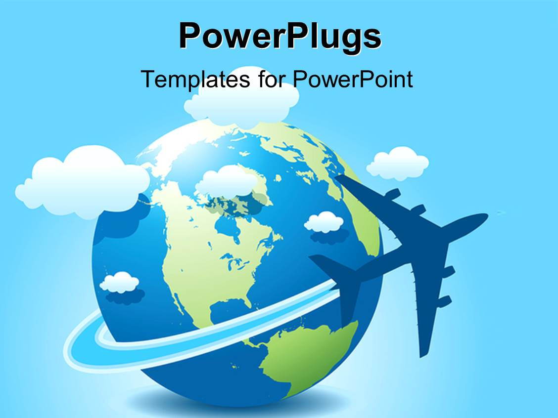 Powerpoint template collage of airplane interior with airplane beautiful ppt having a globe with clouds and bluish background toneelgroepblik Choice Image