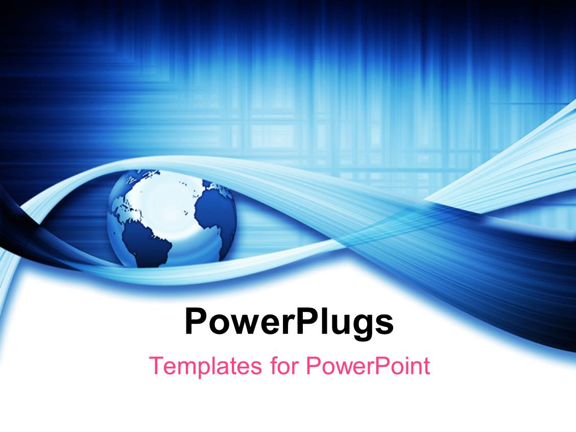 Power Plugs Powerpoint Templates Powerpoint Template A Globe With A Number Of Bluish Lines
