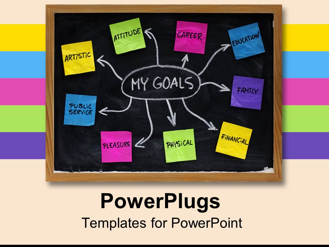 Powerpoint template goal map with colorful sticky notes on black powerpoint template displaying goal map with colorful sticky notes on black board with white chalk toneelgroepblik Images