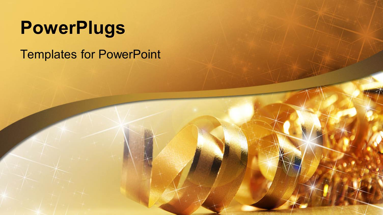 Ribbon powerpoint templates crystalgraphics a presentation with gold ribbon with shiny stars and wave toneelgroepblik Images