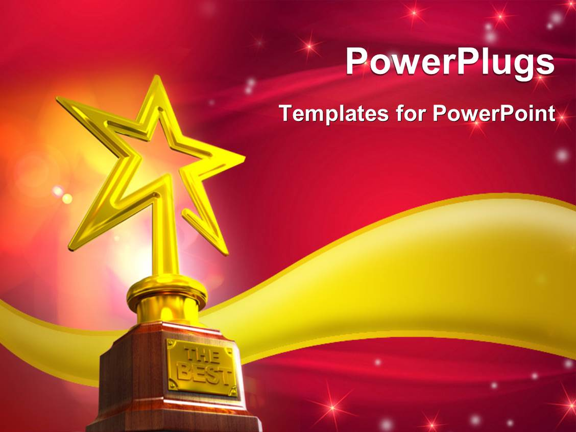 powerpoint template: 3d gold star award on red-stars background, Modern powerpoint