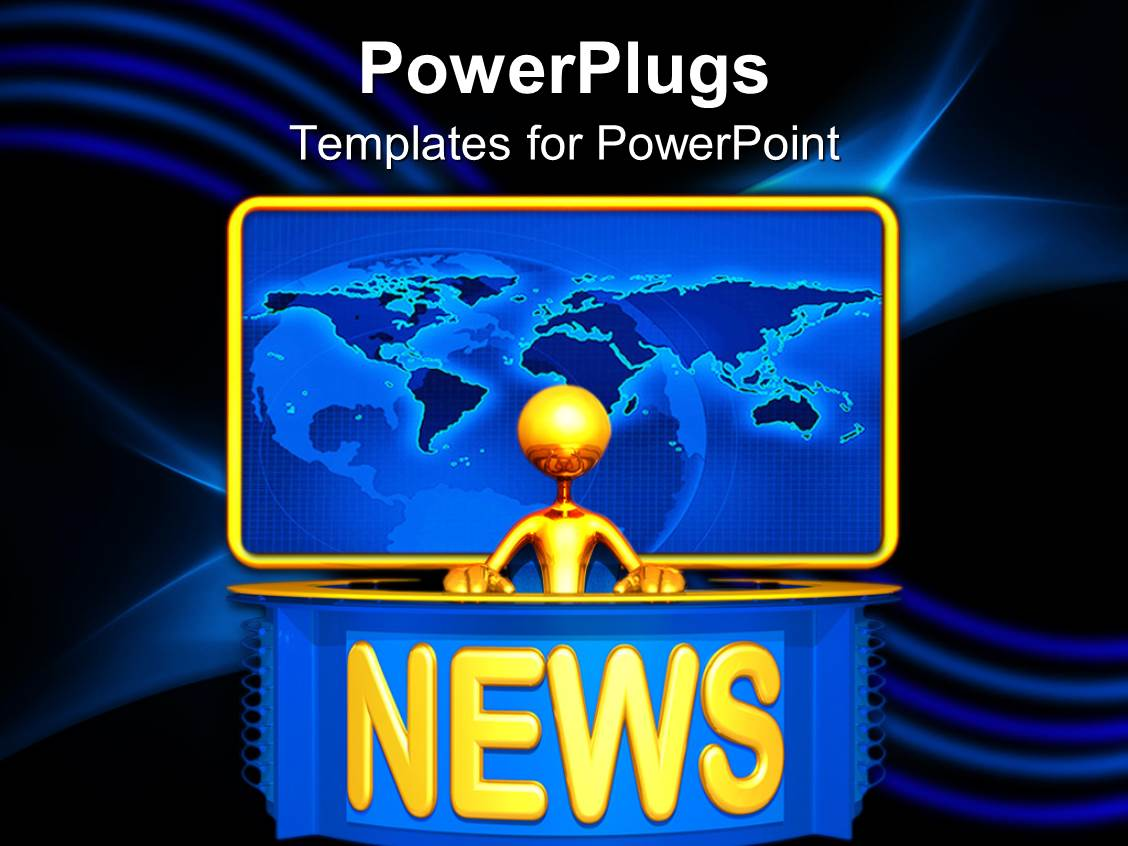 powerpoint template: golden 3d figure presenting news with yellow, Modern powerpoint