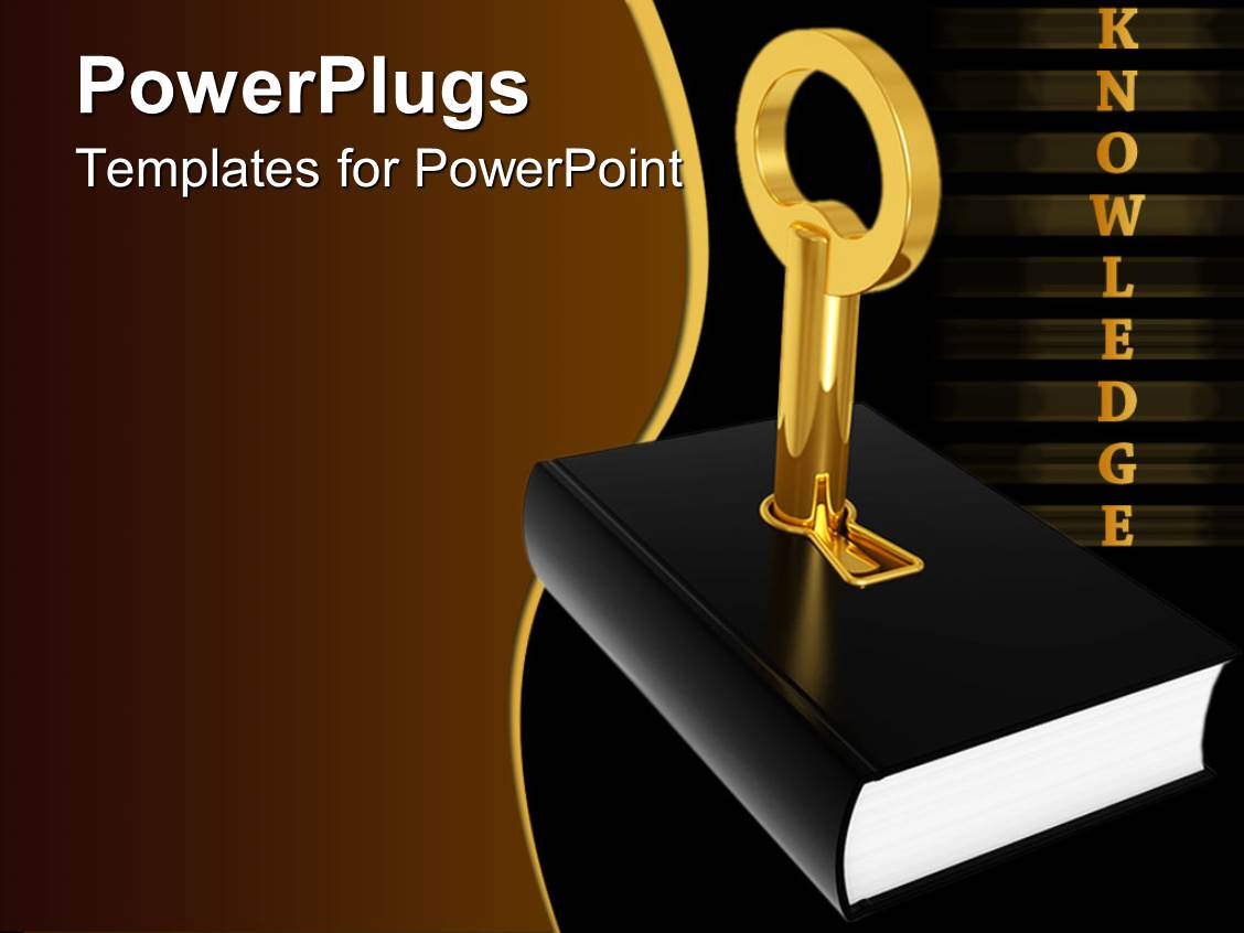 Book Cover Template Powerpoint : Powerpoint template golden knowledge word and black cover