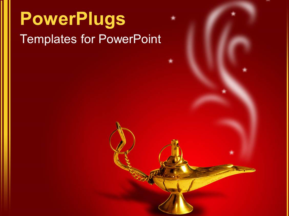 Arab powerpoint templates crystalgraphics presentation design enhanced with a golden magic lamp with smoke on red background template size toneelgroepblik Choice Image