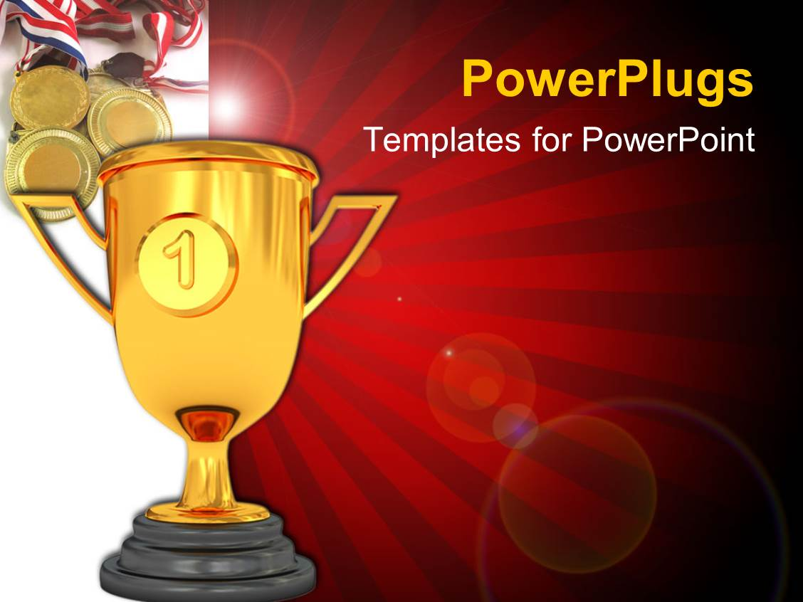 Powerpoint Template Golden Trophy Cup With Number One Award