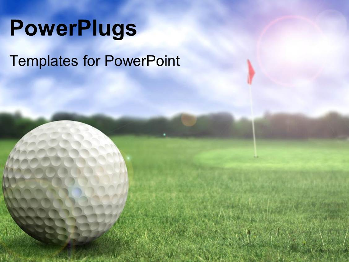 powerpoint template: a golf ball in a golf course ready to be hit, Modern powerpoint