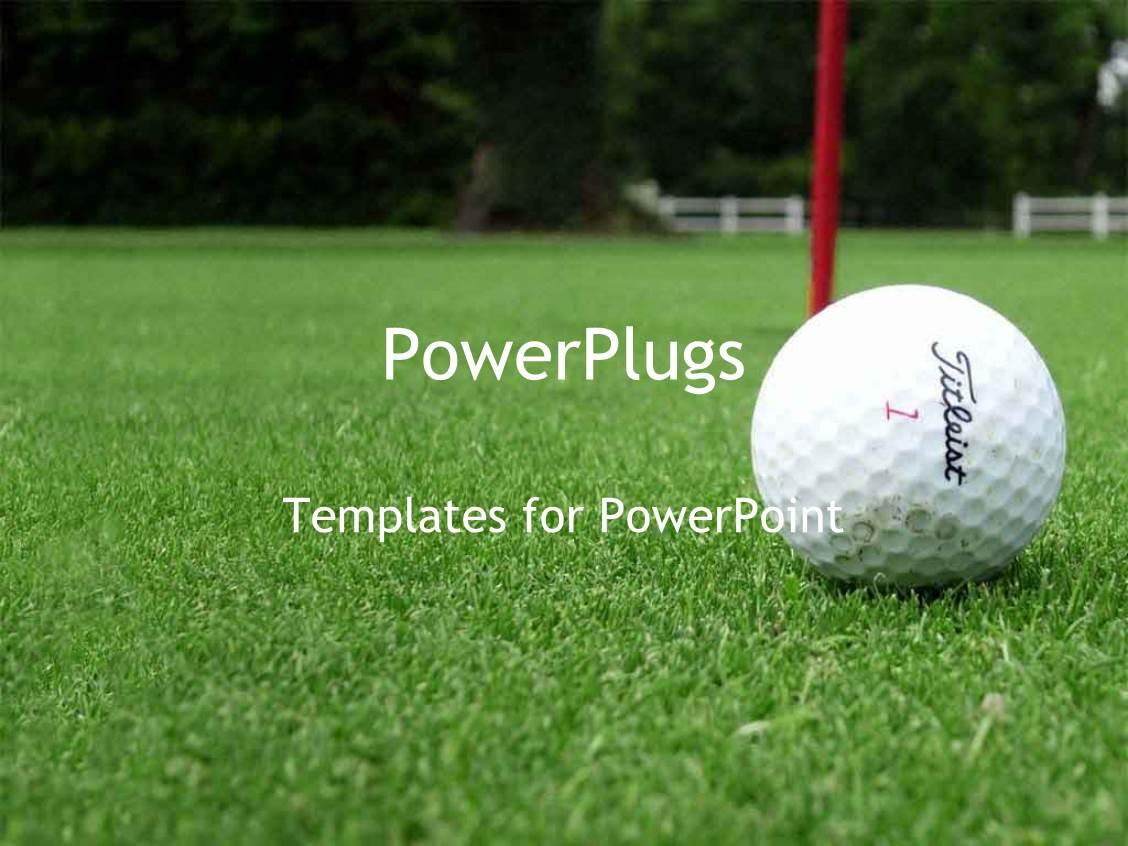 powerpoint template: golf ball next to hole on green golf course, Modern powerpoint