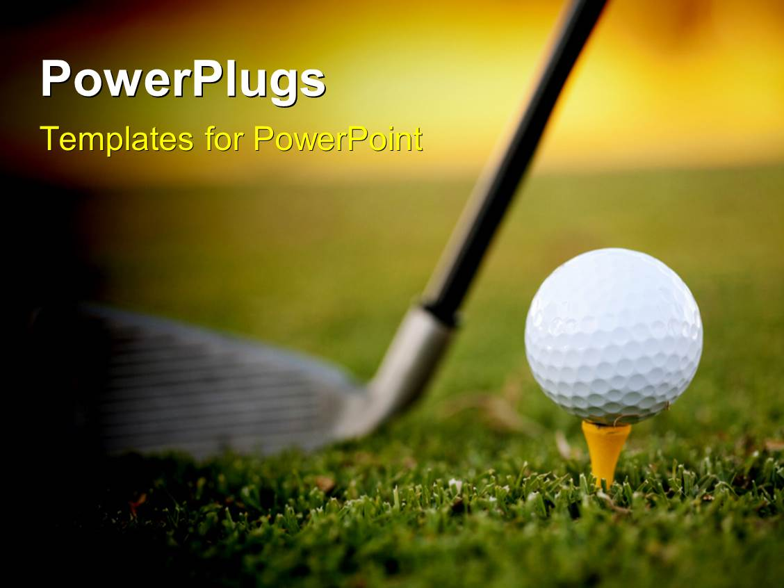 powerpoint template: golf club resting on green behind ball and, Modern powerpoint