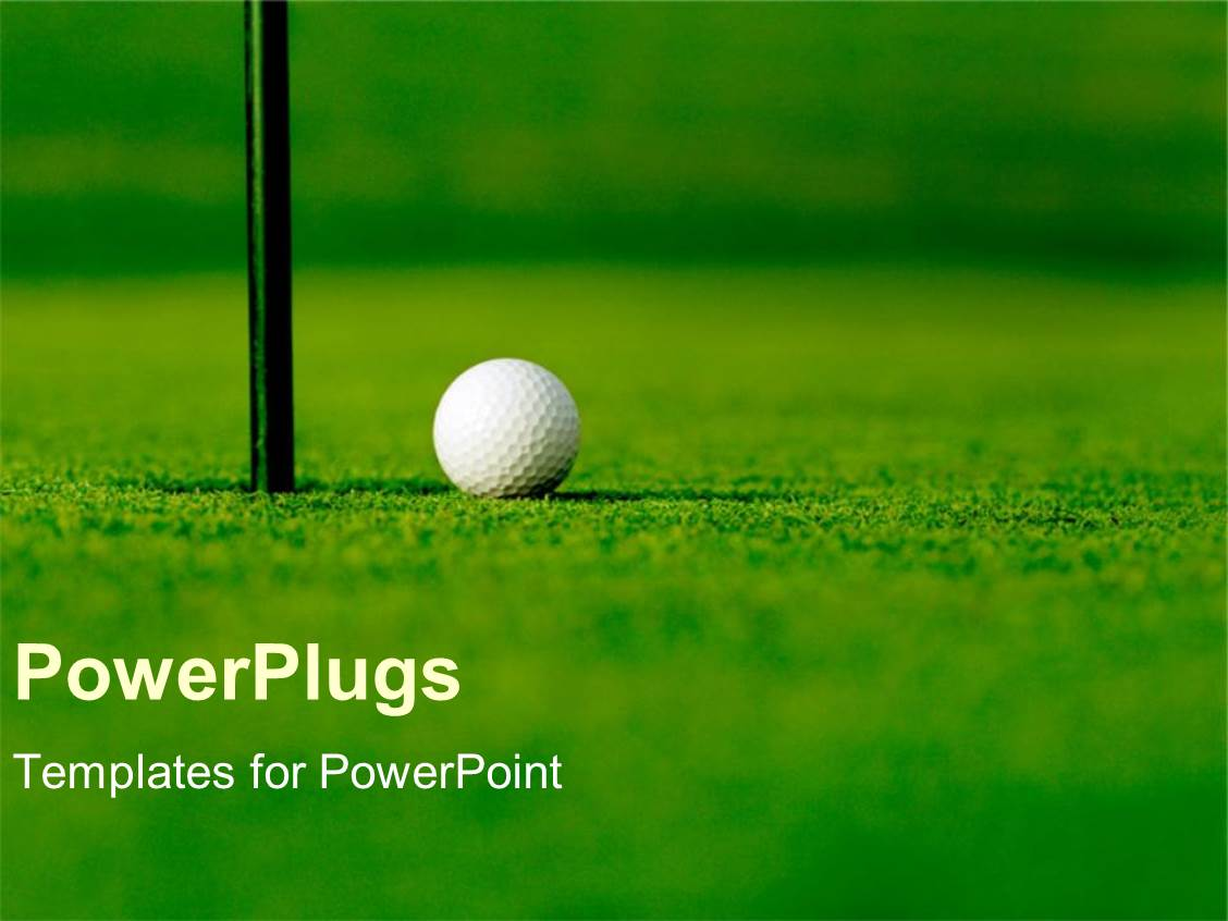 powerpoint template: golf course with white golf ball next to hole, Modern powerpoint