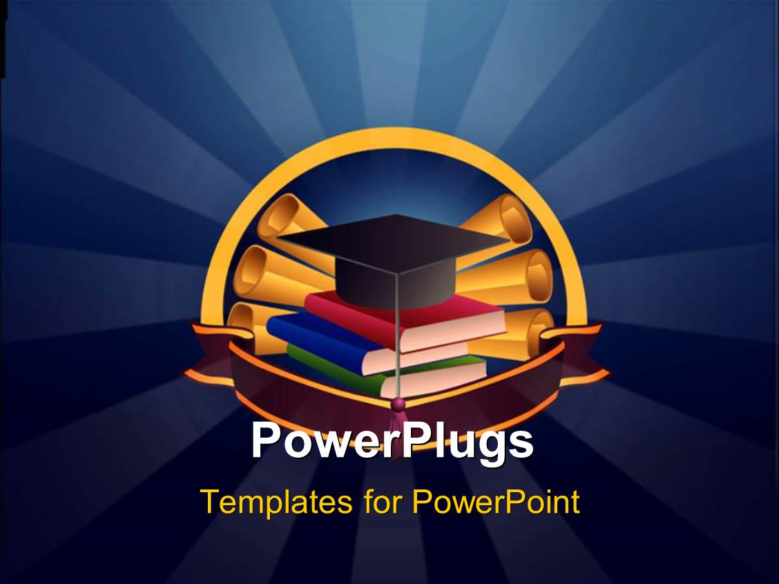 PowerPoint Template Displaying Graduation Cap on Book Pile with Certificates on Blue Background