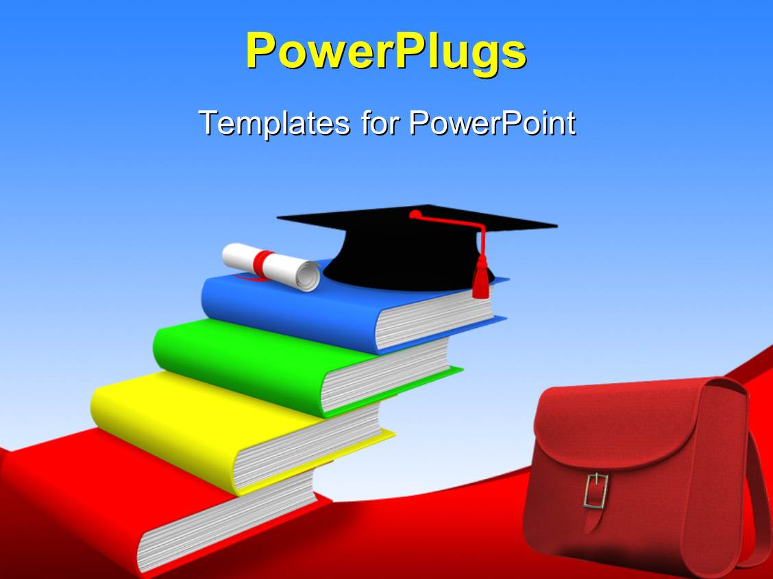 powerpoint template graduation cap on pile of colored