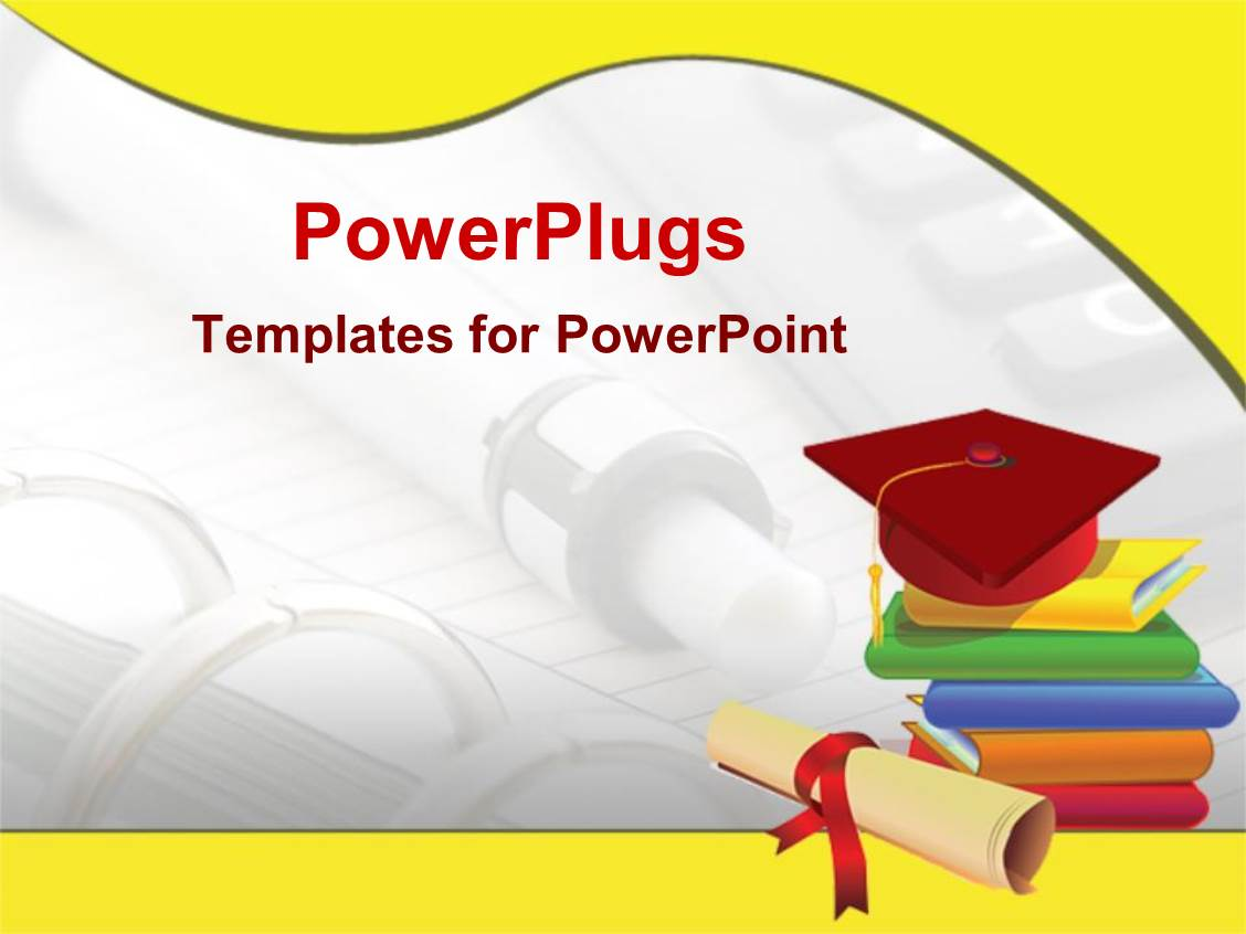 powerpoint template graduation cap on stack of books