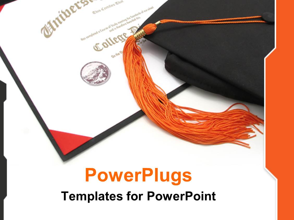 Certificate powerpoint templates crystalgraphics presentation with graduation theme with graduation hat on top of certificate diploma university college certificate template size presentation xflitez Image collections