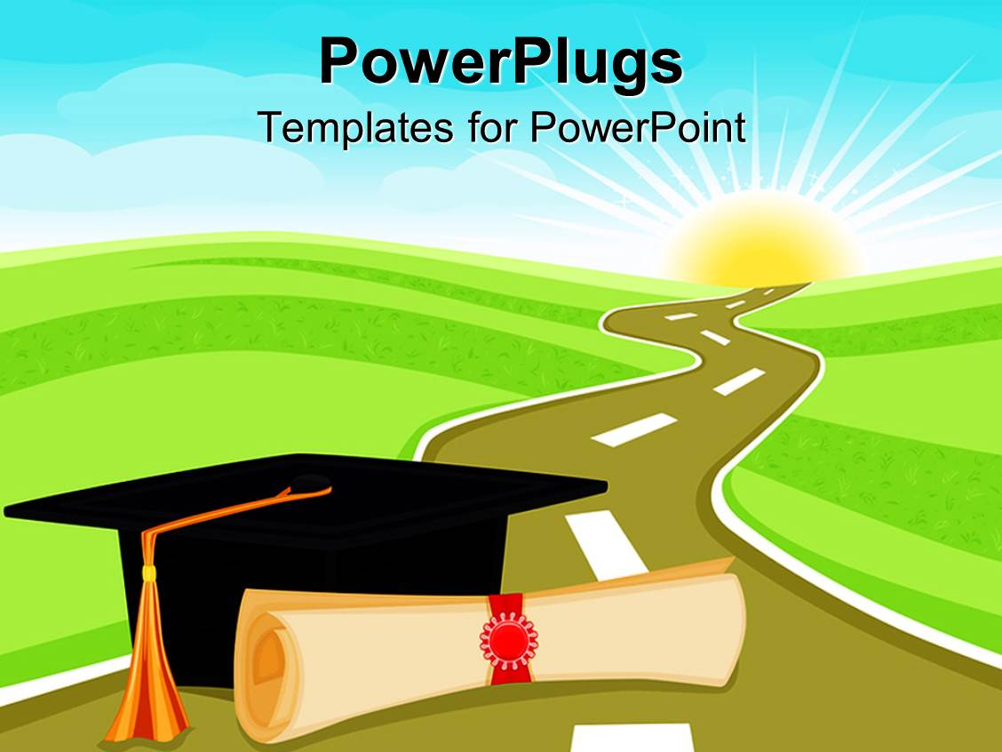 powerpoint template graduation theme with rolled diploma