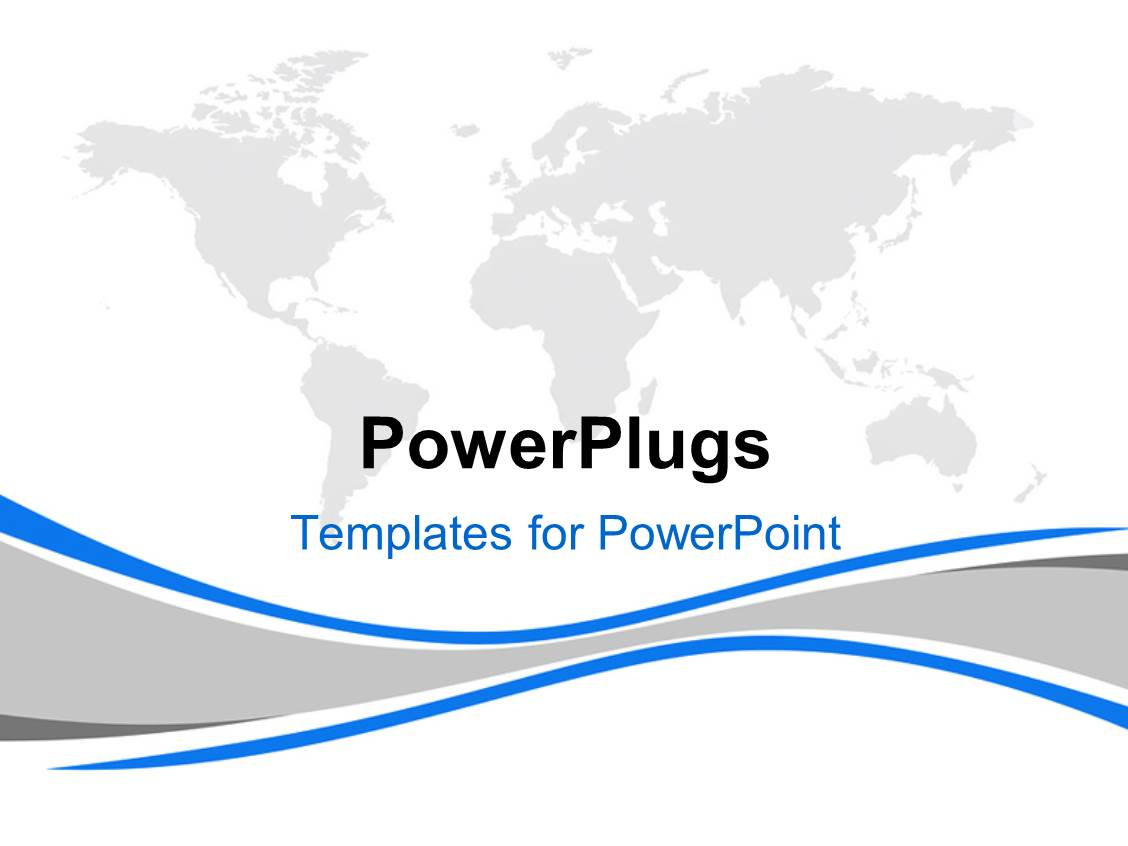 Powerpoint template gray world map on white background for Power plugs powerpoint templates