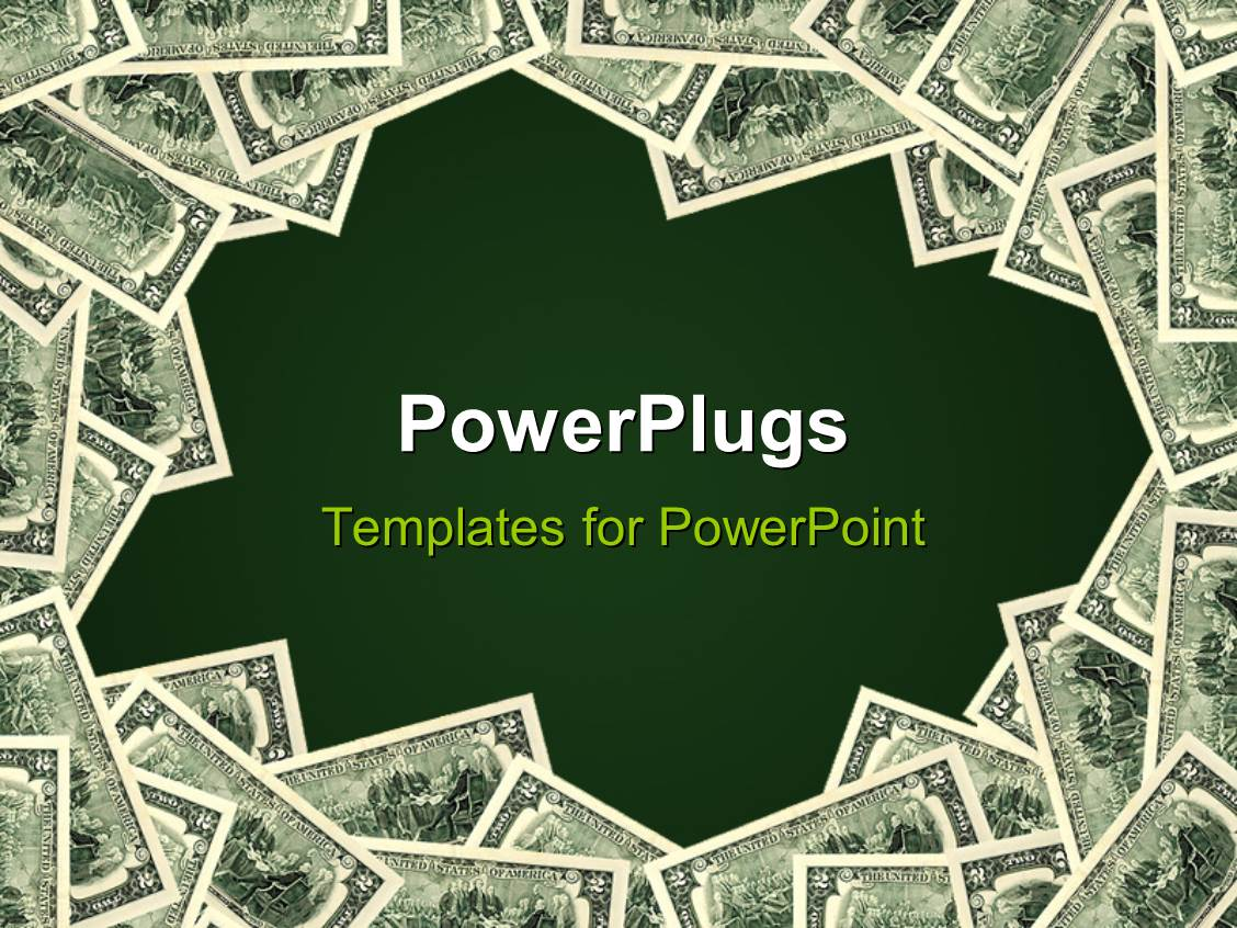 powerpoint template: green background framedpiles of money (20656), Modern powerpoint
