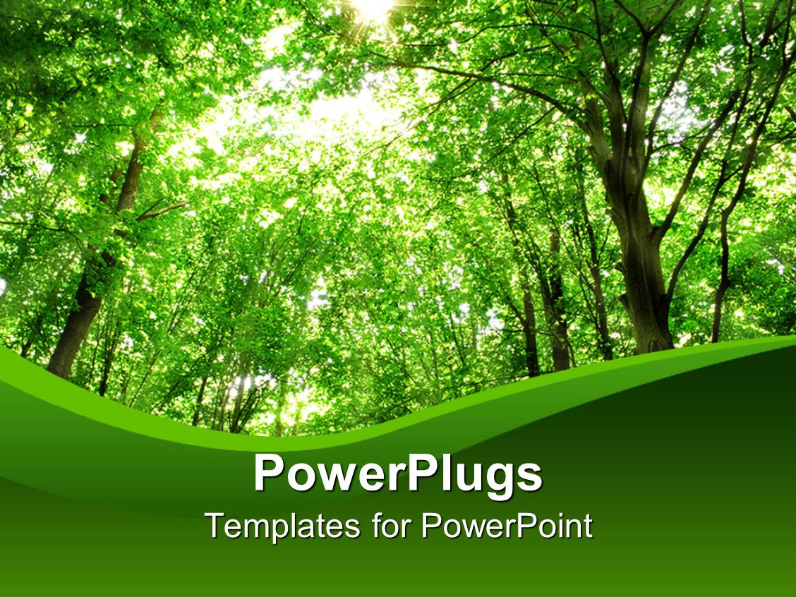 powerpoint template green background showing green forest
